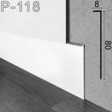Белый низкий плинтус скрытого монтажа,Sintezal P-118W, 80х8х2500мм.