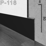 Черный скрытый плинтус для тонких стен Sintezal P-118B, 80х8х2500мм.