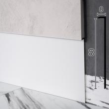 Скрытый плинтус алюминиевый Sintezal P-118W, 80х8х2500мм. Белый