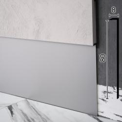 Скрытый плинтус алюминиевый под вставку Sintezal-P-118, H = 80 мм.