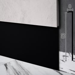 Чёрный встроенный алюминиевый плинтус с залеганием 8мм Sintezal P-118В, 80х8х2500мм.