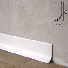 Білий алюмінієвий плінтус для підлоги Sintezal P-63W, 40х17х2500мм.