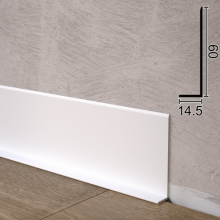 Белый плоский алюминиевый плинтус Sintezal Р-65W, 60х14,5х2500мм.