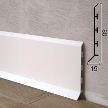 Белый алюминиевый плинтус для пола Sintezal P-85W, 80х15х2500мм.