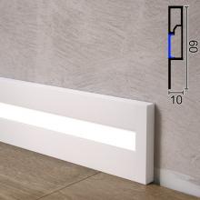 Белый алюминиевый плинтус с LED-подсветкой Sintezal P-89LEDW, 60х10х2500мм.