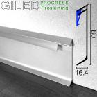 Алюминиевый плинтус с LED-подствекой Progress PROSKIRTING GILED, высота 80мм.