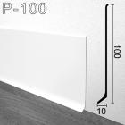 Высокий белый алюминиевый плинтус для пола Sintezal P-100W 100х10х2500мм.