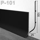 Чёрный високий алюминиевый плинтусс перекрытием 25мм Sintezal P-101B, 100х25х3000мм.