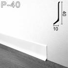 Белый алюминиевый плинтус Sintezal P-40W, 40х10х2700мм.