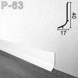 Белый алюминиевый плинтус для пола Sintezal P-63W, высота 40 мм.