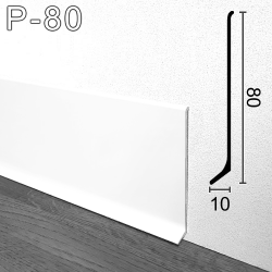 Плоский алюминиевый плинтус белый Sintezal P-80W, 80х10х2500мм. Высота 80мм