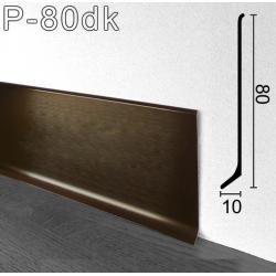 """Брашированный алюминиевый плинтус Sintezal P-80DK. Цвет """"Тёмный кофе"""""""