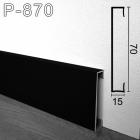 Чёрный алюминиевый плинтус с увеличенным нахлёстом на пол Sintezal P-870B, 70х15х2500мм.