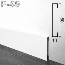Белый алюминиевый плинтус Sintezal P-89W 60х10х2500мм.