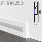 Белый алюминиевый плинтус с подсветкой Sintezal, 60х10х2500мм. P-89LED-W