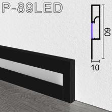 Чёрный алюминиевый плинтус с подсветкой Sintezal P-89LEDB, 60х10х2500мм.