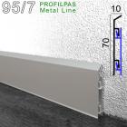 Алюминиевый плинтус для пола Profilpas Metal Line 95/7, 70х10х2000мм.