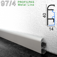 Алюминиевый плинтус для пола Profilpas Metal Line 97/4, 40х14х2000мм.