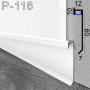 Встроенный алюминиевый плинтус с LED-подсветкой Sintezal P-116, высота 60 мм.