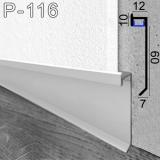 Прихований алюмінієвий плінтус з LED-підсвіткою Sintezal P-116, висота 60 мм.
