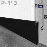 Чорний алюмінієвий плінтус з LED-підсвіткою Sintezal P-116В, 60х12х2500мм