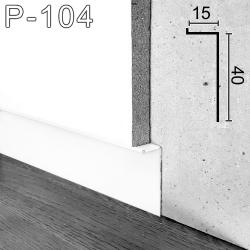Г-образный алюминиевый плинтус скрытого монтажа Sintezal Р-104W, H=40mm. Белый.