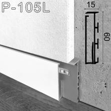 Белый встроенный плинтус со скрытой LED-подсветкой Sintezal P-105LW, 60x10x2500мм