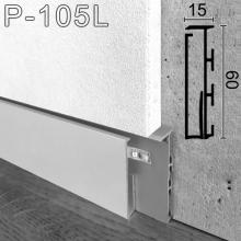 Алюминиевый плинтус с LED-подсветкой Sintezal P-105L, высота 60мм.