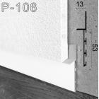 Белый алюминиевый плинтус под гипсокартон Sintezal P-106W, 53х15х3000мм