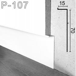 Белый г-образный алюминиевый плинтус Sintezal P-107W, 70х15х2500мм