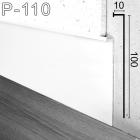 Белый высокий встроенный плинтус со скрытой подсветкой Sintezal P-110W, 100х10х3000мм