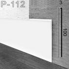 Белый тонкий дизайнерский плинтус под штукатурку Sintezal P-112W, 100х3х2500мм