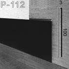 Чёрный тонкий дизайнерский плинтус под штукатурку Sintezal P-112В, 100х3х2500мм