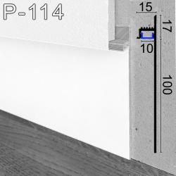 Скрытый алюминиевый плинтус с LED-подсветкой Sintezal P-114W, H=100мм. Белый