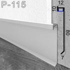 Встроенный алюминиевый плинтус с LED-подсветкой Sintezal P-115, высота 80 мм.