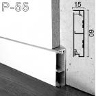 Белый плинтус скрытого монтажа с теневым пазом Sintezal Р-55W, 60х15х2500мм