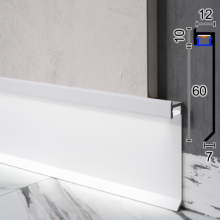Скрытый плинтус алюминиевый с LED-подсветкой Sintezal P-116W, 60х12х2500мм. Белый