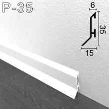 Белый алюминиевый плинтус для пола Sintezal P-35W, 35х15х2500мм.