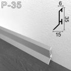Низкий алюминиевый плинтус с увеличенным нахлёстом на пол Sintezal P-35, 35х15х2500мм.