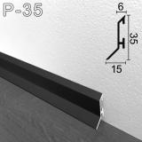 Чёрный алюминиевый плинтус с увеличенным нахлёстом на пол Sintezal P-35B, 35х15х2500мм.