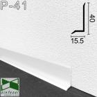 Белый алюминиевый плинтус для пола Sintezal P-41W, 40х15,5х2500мм.