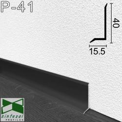 Плоский алюминиевый плинтус Sintezal P-41B, высота 4 см. Чёрный