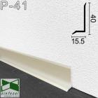 Плоский алюминиевый плинтус для пола Sintezal P-41, 40х15,5х2500мм., Серебро