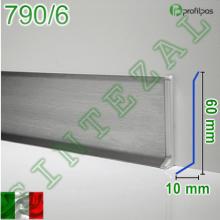 Плоский плинтус из нержавеющей стали Profilpas Metal Line 790/6, высота 60 мм.