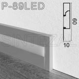 Прямоугольный алюминиевый плинтус с LED-подсветкой, 60х10 мм. Sintezal Р-89LED