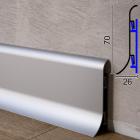 Быстросьёмный алюминиевый плинтус на кронштейнах  Profilpas Metal Line 98/7SF, 70х26х2000мм. Италия