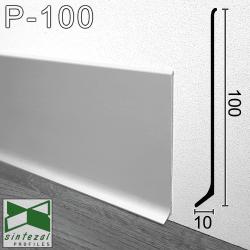 Широкий алюминиевый плинтус для пола Sintezal Р-100, высота 100 мм.