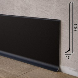 Высокий алюминиевый плинтус для пола Sintezal P-100B. Чёрный. 100х10х2500мм.