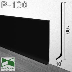 Черный алюминиевый плинтус для пола Sintezal® P-100B, высота 10см.