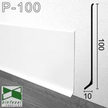 Белый алюминиевый плинтус для пола Sintezal 100х10х2500мм. P-100W
